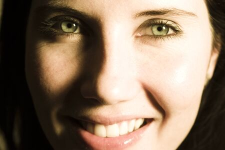 jubilating: Portrait of happy young woman smiling. Stock Photo