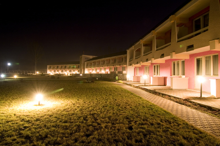A night shot of a hotelmotel Stock Photo