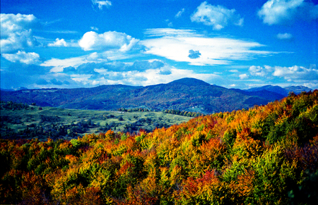 Film scan showing visible grain of autumnal forested hills, mountains, specacular overcast sky. Stock Photo