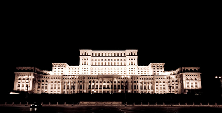 superstructure: Night scenery shot of House of the people in Romania. Government building.