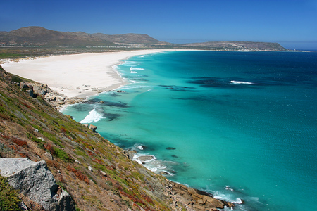 View of Noordhoek Beach from Chapmans Peak Drive on the Cape Peninsula near Cape Town, South Africa Banco de Imagens