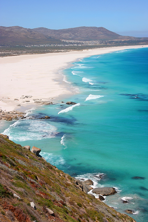 chapmans: View of Noordhoek Beach from Chapmans Peak Drive on the Cape Peninsula near Cape Town, South Africa Stock Photo
