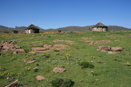 Typical local hut in rural Lesotho