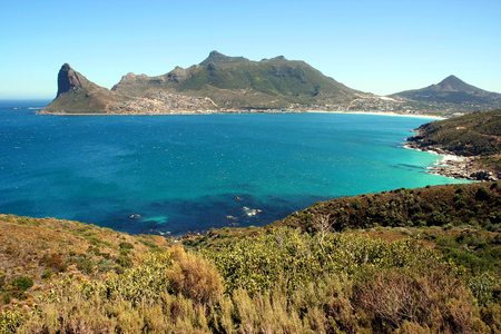 Scenic Hout Bay is a lively coastal town near Cape Town of the Cape Peninsula, South Africa