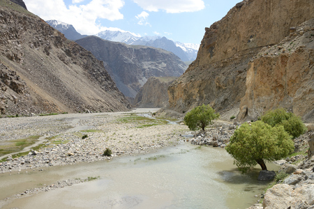 Beautiful Bartang Valley near Roshorv with the mighty Bartang river, Pamir Mountain Range, Tajikistan
