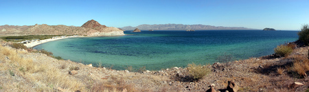 Remote camping on Playa Santispac, Baja California Sur, Mexico