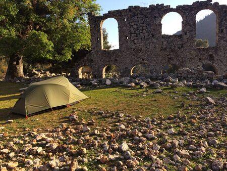 Camping at Alakilise (Church of Angel Gabriel), Likya Yolu Hiking Trail, Turkey
