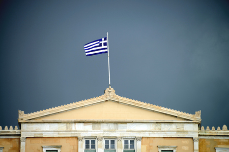 Black clouds over Hellenic Parliament, Athens, Greece