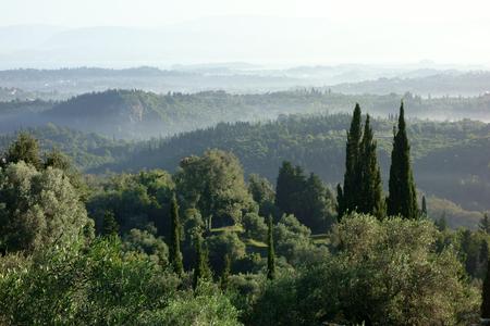 Morning fog in the hills, Corfu Trail, Greece