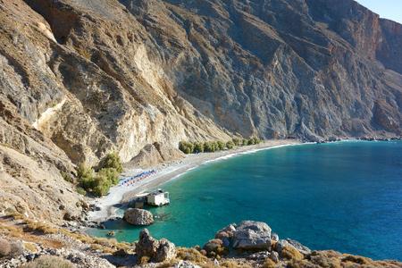 Crystal clear sea at Sweetwater Beach, E4 European long distance hiking path, Crete, Greece Stock Photo