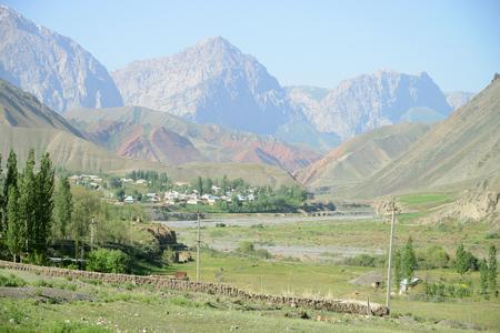 Beautiful mountain landscape near Uch-Tyube, M41 Pamir Highwaym Kyrgyzstan Stock Photo