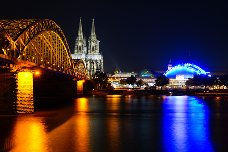 Cologne Cathedral (Dom) and Hohenzollern Bridge, Cologne, Germany