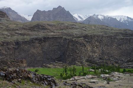 Savnob village in the beautiful Bartang Valley, Pamir Mountain Range, Tajikistan