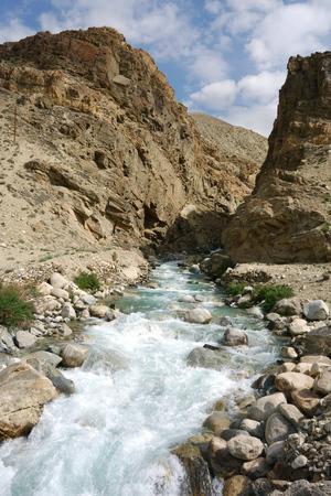 Beautiful Wakhan valley near Langar, Pamir Mountain Range, Tajikistan Stock Photo