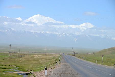 Sary Tash village and beautiful Pamir mountains, M41 Pamir Highway, Kyrgyzstan