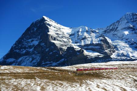 North face of Eiger mountain and Wengernalp Railway, Jungfrau region, Switzerland
