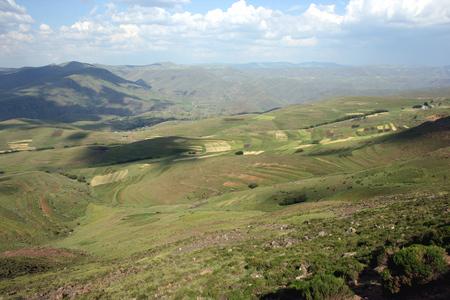 Beautiful landscape and scenery between Marakabei and Thaba Tseka, Lesotho, Southern Africa Stock Photo