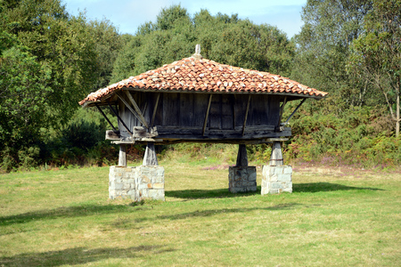 Traditional shed near the Ermita de San Roque, Northern Galicia, Spain, Europe