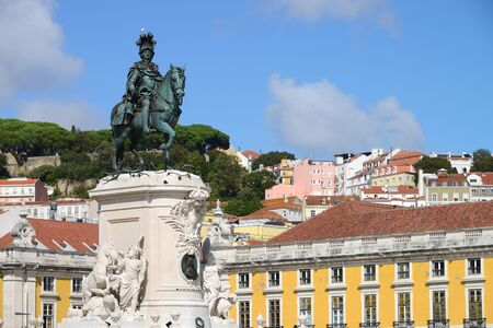 Commerce Square (Portuguese: Praca do Comercio) and statue of King Jose I in Lisbon, Portugal