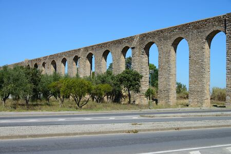 Old Roman aqueduct, City of Evora, Portugal