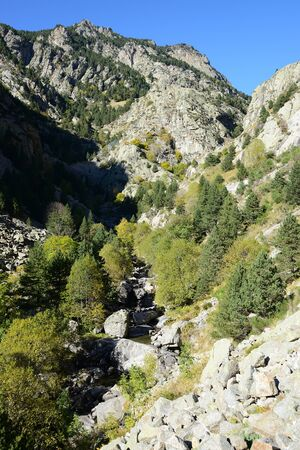 Queralbs to Vall de Nuria Trail, Pyrenees mountain range, Spain Banco de Imagens