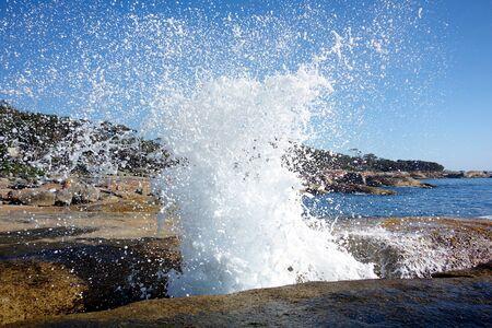 Blowhole at Bicheno beach, Tasmania, Australia Stockfoto