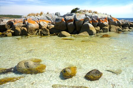 Pristine beaches of The Garden, Bay of Fires, Tasmania, Australia Banco de Imagens