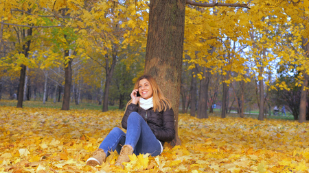 Woman Sitting With His Back To Tree In Yellow Autumn Leaves, Talking Smartphone