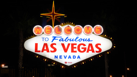 Las Vegas, USA-November 07,2017: Welcome To Las Vegas Sign Illumination At Night