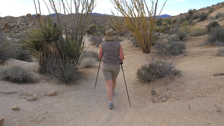 Active Woman With Trekking Sticks Hiking In The Mojave Desert Park Joshua Tree