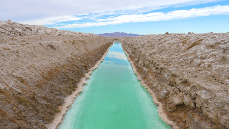 Rectangular Pool With Turquoise Water For Extraction And Production Of Salt Stok Fotoğraf