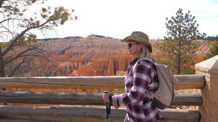 Woman Tourist Hiking To Background Orange Red Sandstone Mountains Bryce Canyon