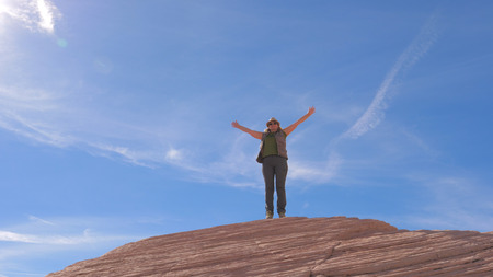 Hiking Woman Happy Of Achievement Arms Up Raised To The Sky And Swirling Around