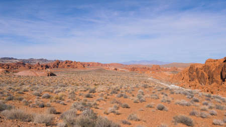 Desert With Sand and Cliffs In Red Rock Canyon National Conservation