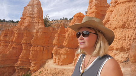 Hiking Woman Tourist On Observation Point Enjoying Amazing Views Bryce Canyon.
