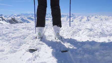 Close Shot Of Ski Boots On Mountain Ski Resort