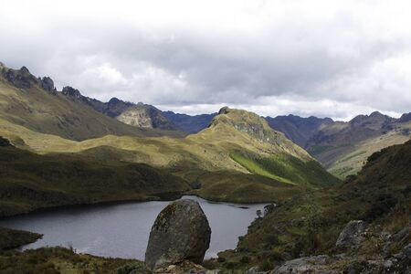 Scenery view over a lagune in the andes of el cajas national park in ecudor