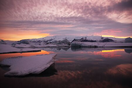 Scenery sunset over glacier lagoon in iceland