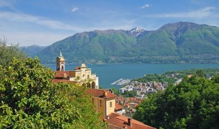Madonna del Sasso in Locarno und dem Lago Maggiore Lizenzfreie Bilder