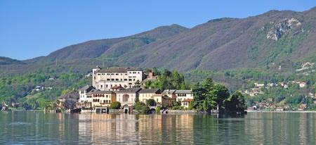View from Orta San Giulio to Isola San Giulio,Lake Orta,Italy photo