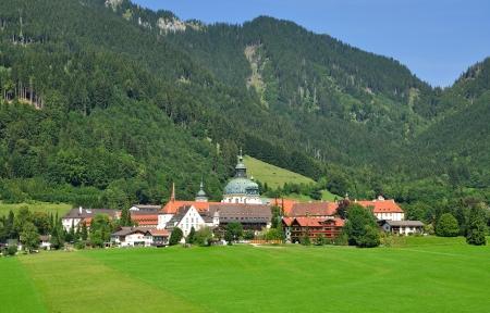 ettal: Village of Ettal and Ettal Monastery,Bavaria,Germany