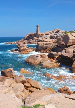 ruiz: the famous Lighthouse called Men Ruiz near Ploumanach in Brittany,France