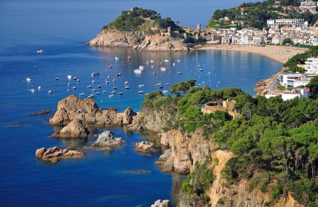 the famous Village of Tossa de Mar at the Costa Brava,Catalonia,Spain Stock Photo