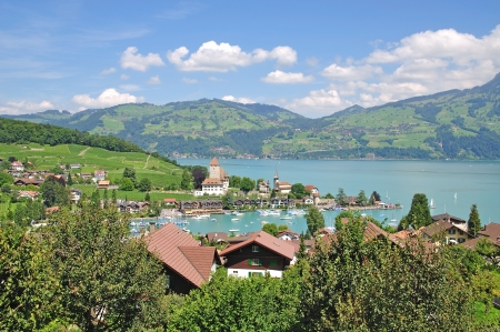 bernese oberland: the Village of Spiez at Lake Thun,Bernese Oberland,Switzerland Stock Photo