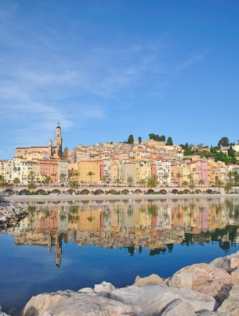 menton: Village of Menton at the french Riviera,Cote d Azur,France Stock Photo