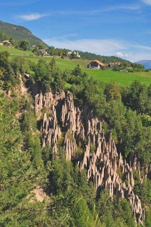 tyrol: the famous Loam Pyramids at the Ritten Mountain or Renon,South Tyrol,Italy Stock Photo