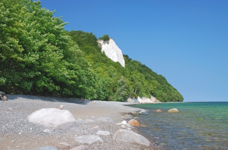the famous Chalk Cliff called Koenigstuhl or Kings Chair on Ruegen Island,Germany photo