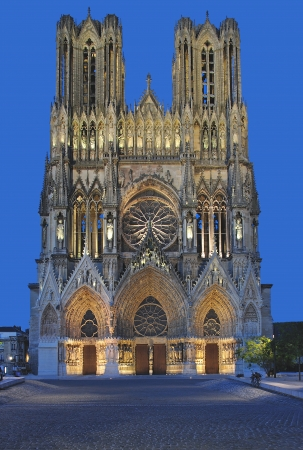 the famous Cathedral of Reims,Champagne Region,France Standard-Bild