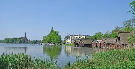 Village of Roebel at Lake Mueritz,Mecklenburg Lake District,Germany