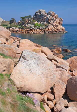 cote de granit rose: the famous Cote de Granit Rose near Ploumanach,Brittany,France Stock Photo